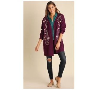 Sweaters - Chunky Embroidered Open Front Cardigan Sweater
